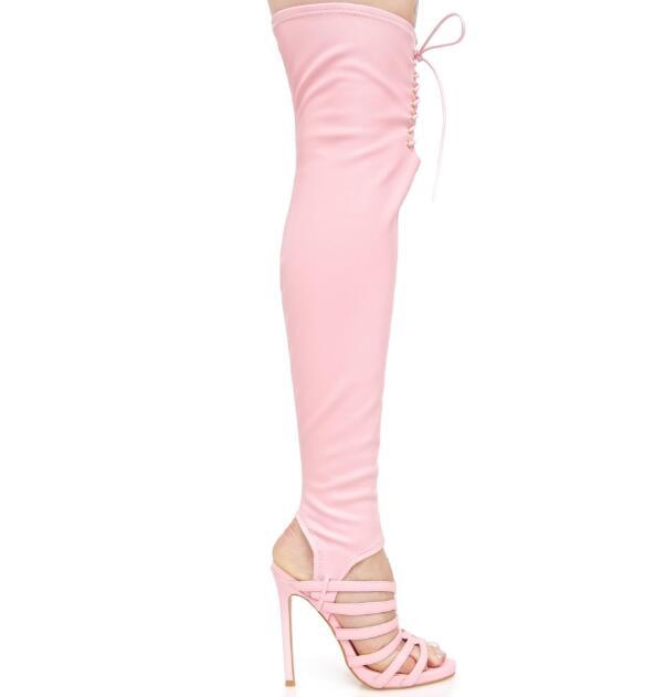 À Talons Cut En 2018 Stretch Out Pink Bottes Sur Le Cuir Lacets Bretelles Printemps Slingback Sexy Mode Femmes Hauts Genou TFlKc1J