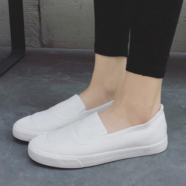 2017 canvas shoes female women white shoe breathable shallow soft flat women's loafers size 39 40 elastic band free shipping