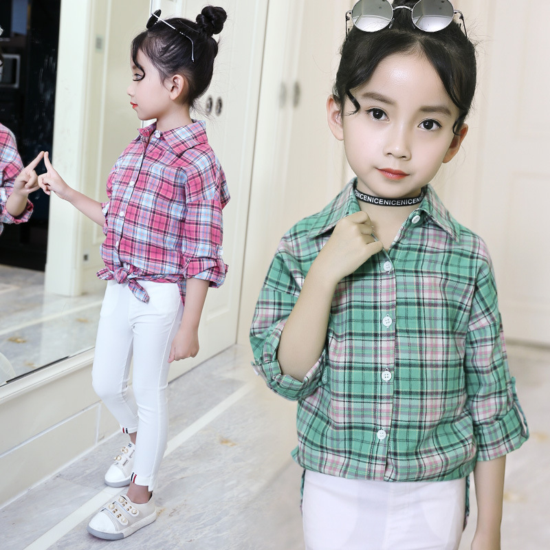 Fashion Spring Girls Plaid Blouse Cotton Teenage School Girl Plaid Blouse Big Size Long Sleeve Red/Green Shirt 4 6 8 10 12 14 Y
