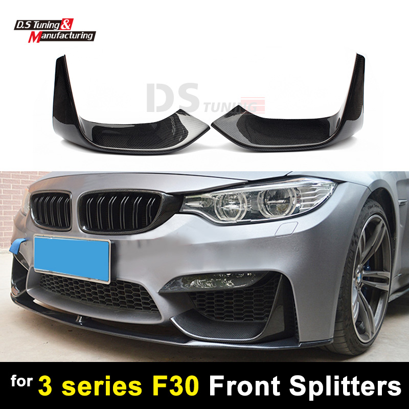 1 paire de séparateurs en Fiber de carbone pare-chocs avant pour BMW série 3 F30 F31 séparateur accessoires voiture style berline 4 portes