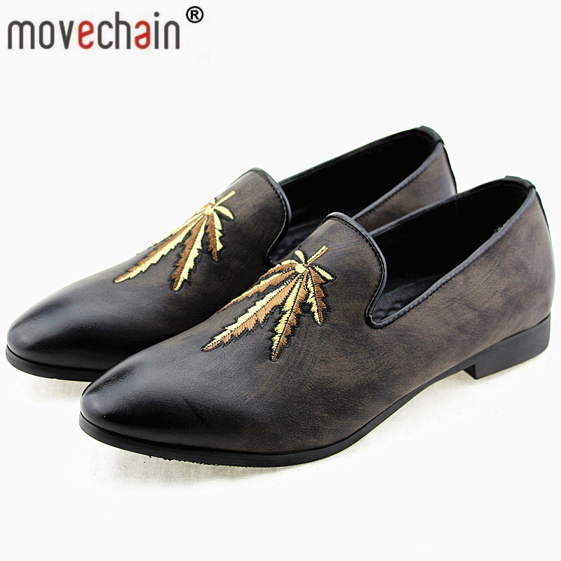 Men's Casual Shoes Movechain Mens Fashion Luxury Brand Suede Leather Loafers Mens Casual Rhinestone Spider Moccasins Shoes Man Party Driving Flats Men's Shoes