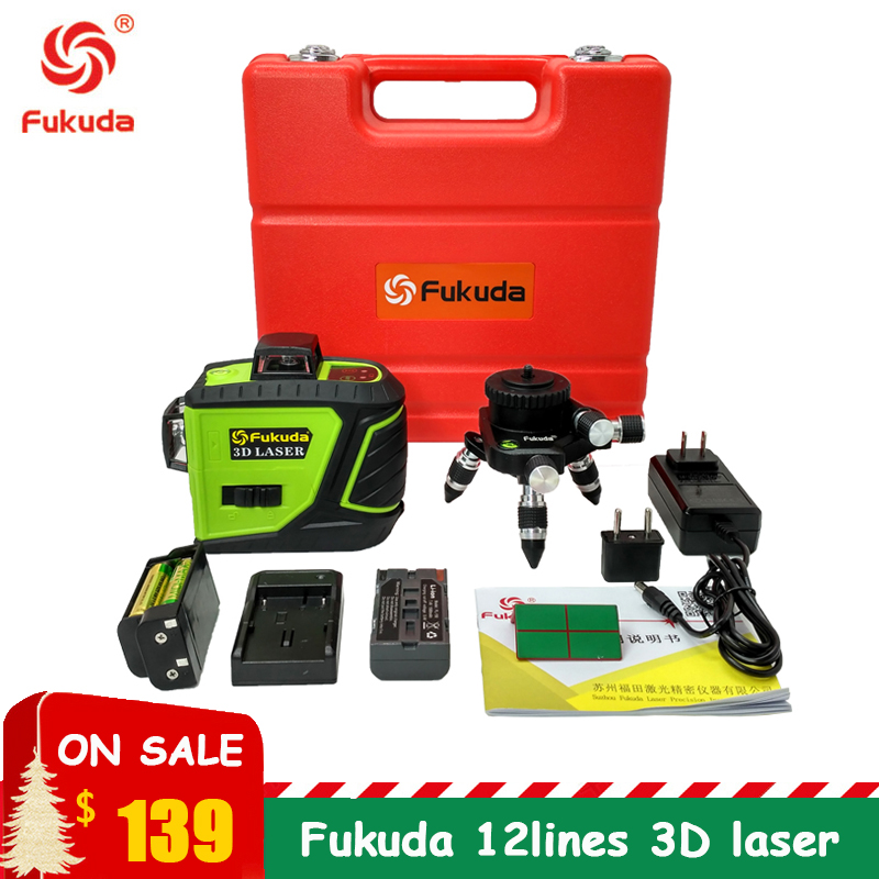 Fukuda Upgraded version 12Lines 3D 93T Laser Level Self Leveling 360 Horizontal And Vertical Cross Red