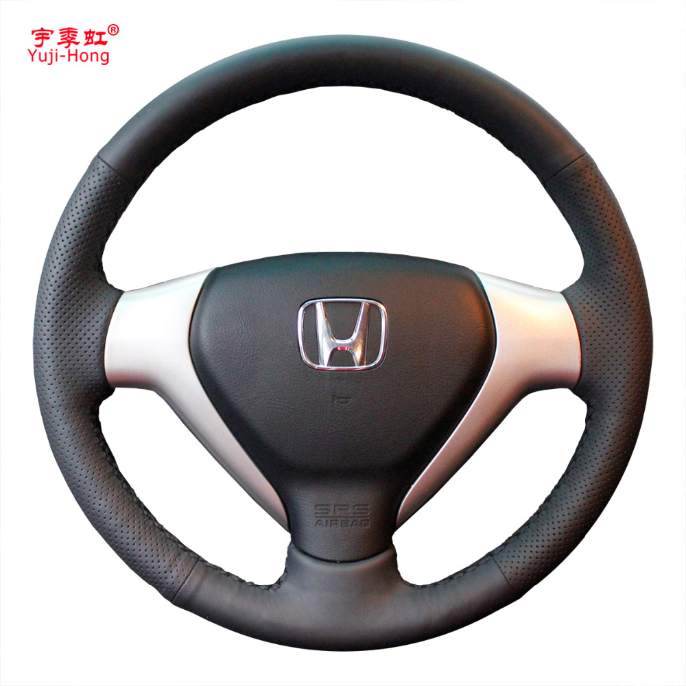 Yuji-Hong Artificial Leather Car Steering Wheel Covers Case for HONDA Jazz Fit 2004-2007 CITY 2007 Steering Hand-stitched Cover diy hand stitched black red genuine leather car steering wheel cover for honda new fit city jazz 2014 2015 hrv hr v 2016