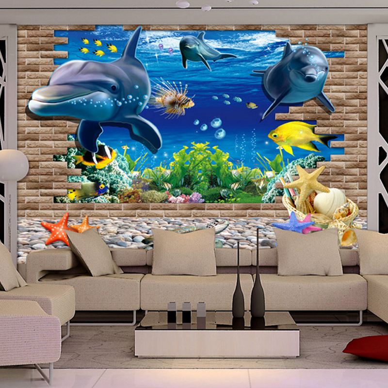 3d wallpaper mural 3D seabed fish Wall Sticker nursery wall decor tattoos Baby Fish Ocean Underwater World Wallpaper Home Decor stylish dolphin pattern 3d wall sticker for home decor