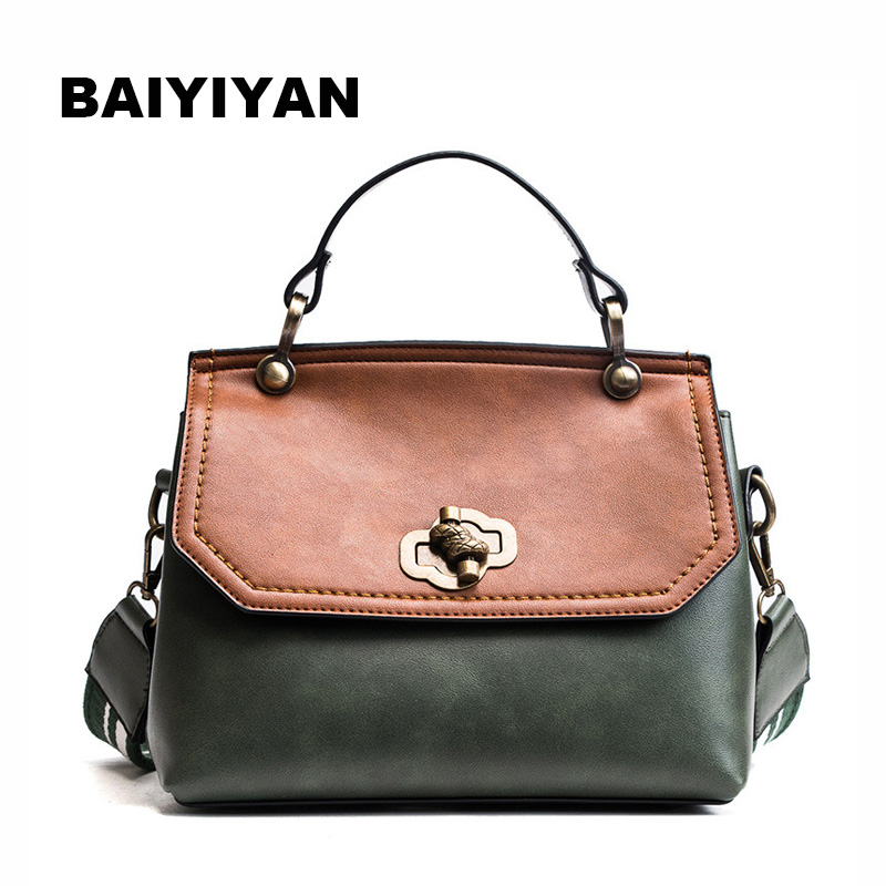 Newly Arrived Retro High Quality women shoulder bags casual messenger bag hit color PU Leather Vintage ladies Tote Bags