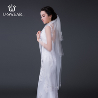 2017 Fashion Design Romantic Bridal Veils Fancy High Quality Polyester Wendding Veils Lace Edge Brand Voile