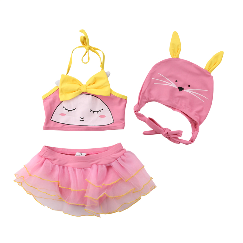 3pcs Kids Baby Girl Swimsuit Summer Cute Cat Swimwear Beachwear Bikini Set Swimmable Swimwear Swimming Cap Children Bathing Suit