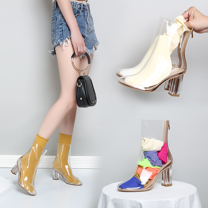 Hot new women PVC ankle boots pointed toe crystal heel transparent women boots clear high heels summer shoes big size 43 bling stars printing pvc transparent crystal heels mid calf boots for women pointed toe back zipper thick high heel summer boots