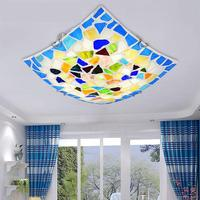 Modern Brie Colorful Shell Square Led Lights For Bedroom Bathroom Ceiling Fixture Lights Wedding Decoration Lamps