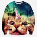 2015 New Fashion men 3D Hoodies Funny printed animal Standing cat space galaxy 3d sweatshirts hoody tops