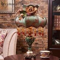 Europäischen luxus harz gravur tischlampe wohnzimmer nacht nacht Amerikanischen stil alte kreative dekorative tischlampe