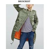 2017 winter long bomber jacket women army green windbreaker female coat baseball military jacket fashion casaco feminino