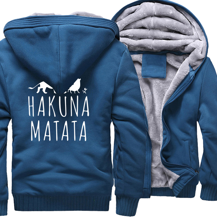 Men's Sportswear Casual Hoody Print HAKUNA MATATA 2018 Brand Clothing Thick Zipped Sweatshirts Men Harajuku Hoodies Hip Hop New