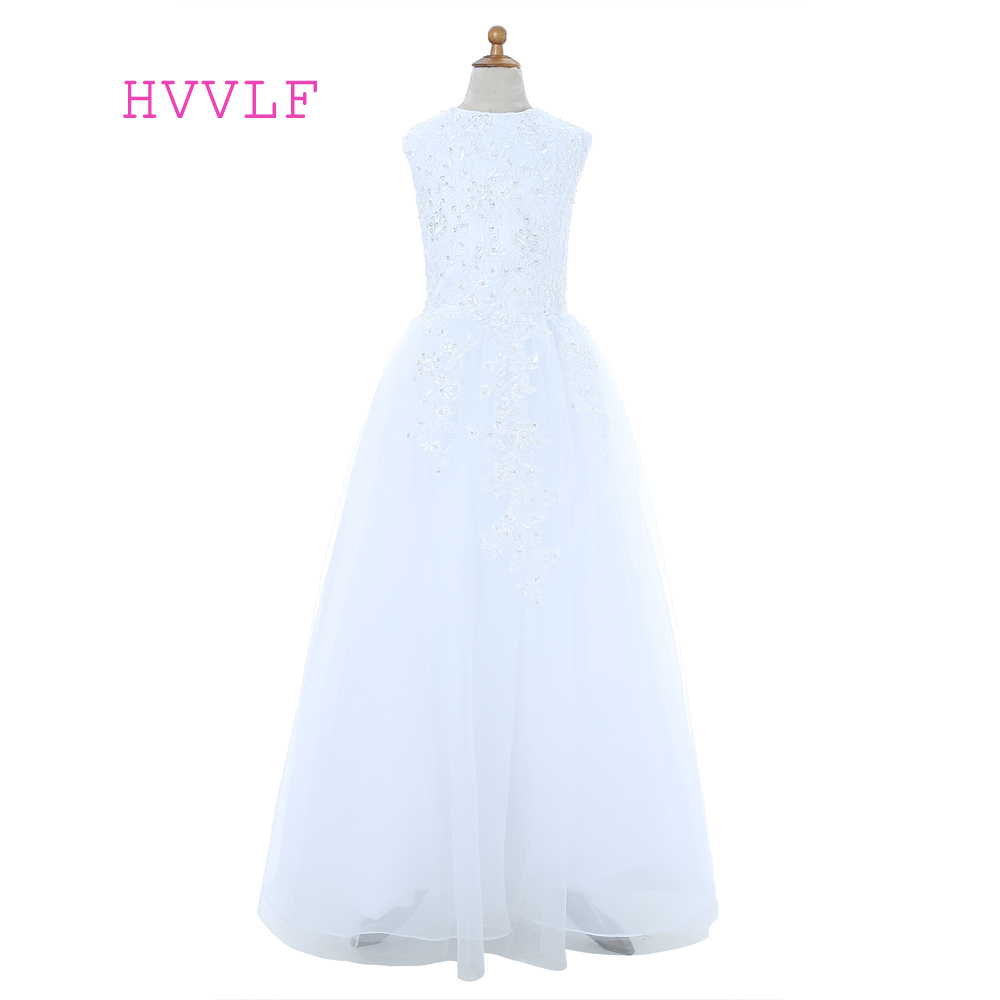White 2019   Flower     Girl     Dresses   For Weddings A-line Cap Sleeves Bow Lace Beaded First Communion   Dresses   For Little   Girls
