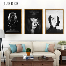 Nordic Minimalist Creative Characters Black and White Frameless Decorative Painting Cuadros Decoracion Salon Black and White