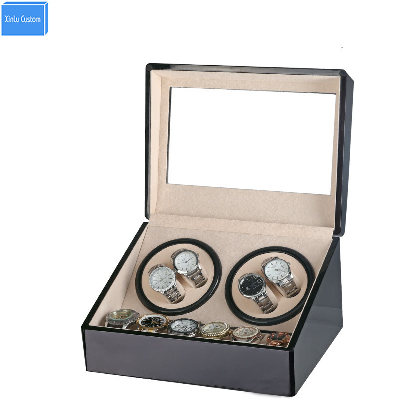 Global Plug Use Black Wood Surface Watch Winder Box Inner Velvet Automatic Rotation 4+6 Watch Winder Storage Case Display Box цена и фото