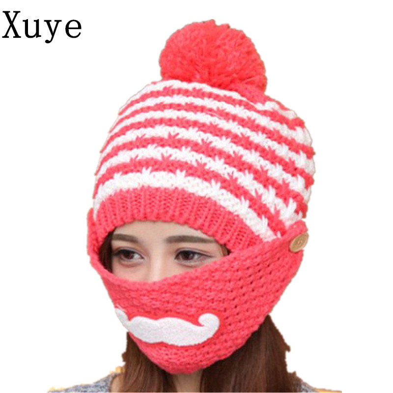 XUYE winter lovely knitted thicken warm face mask hats girl windporrf hat women fleece ski cap beanies Balaclava caps fashionable button face mask thicken trapper hat for men