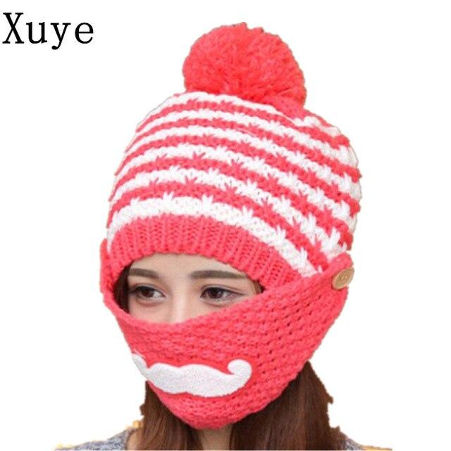 XUYE invierno encantadora de punto espesar cálido mascarilla sombreros  chica windporrf sombrero mujeres fleece Balaclava ski 3c6005e629ba