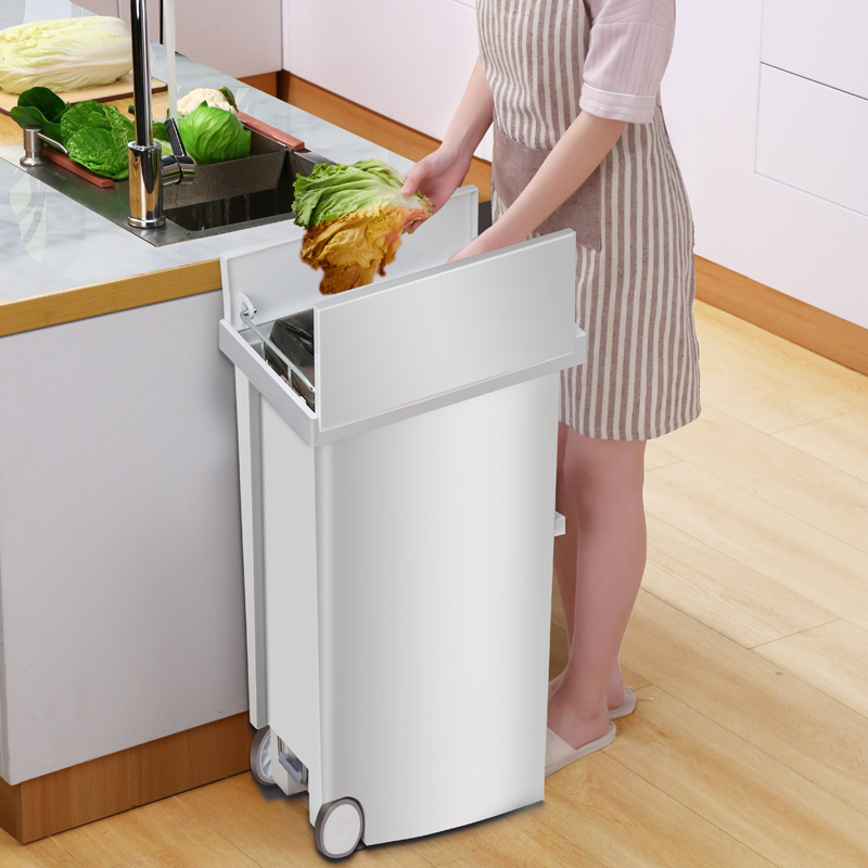 US $81.5 49% OFF|20L Kitchen Garbage Trash Can Poubelle With Wheels Strong  Plastic Pedal Waste Trash Bin For Toilet Dustbin With Trash Bag Holder-in  ...