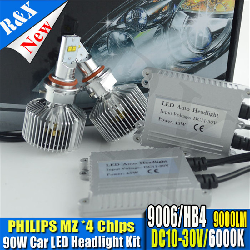 HB4 90W 9000LM P hilip LUMILED LED 9006 Car Headlights 9005 H4 H7 H11 H16 9012 Car Auto H11 LED Headlight Bulbs Headlamp White