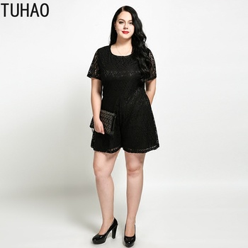 TUHAO 2019 female SUMMER Overalls Plus Size 6XL 5XL 4XL Sexy Womens Office Lady Elegant Black Playsuit Jumpsuit Romper Shorts RL