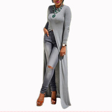 2018 Women Casual Crew Neck Long Sleeve Sexy Split Knitted Spring Maxi Dress