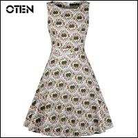 IHOT-Women-50s-60s-floral-Dress-Vestido-De-Festa-Women-Casual-Print-Swing-Dress-Patchwork-Vintage