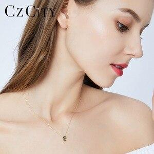 Image 2 - Czcity Echt 14K Gold Petite Cz Beginletter Hanger Kettingen Voor Vrouwen Unieke A Z Brief Ketting Sieraden Geschenken
