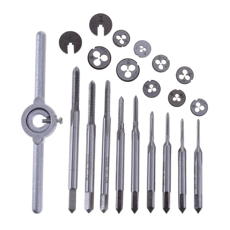 31pcs/set Portable Woodworking M1-M2.5 Metric Screw Tap Threading Die Wrench Holder For Car Repairing Hand Tool Taps Tap Holder 20pcs m3 m12 screw thread metric plugs taps tap wrench die wrench set