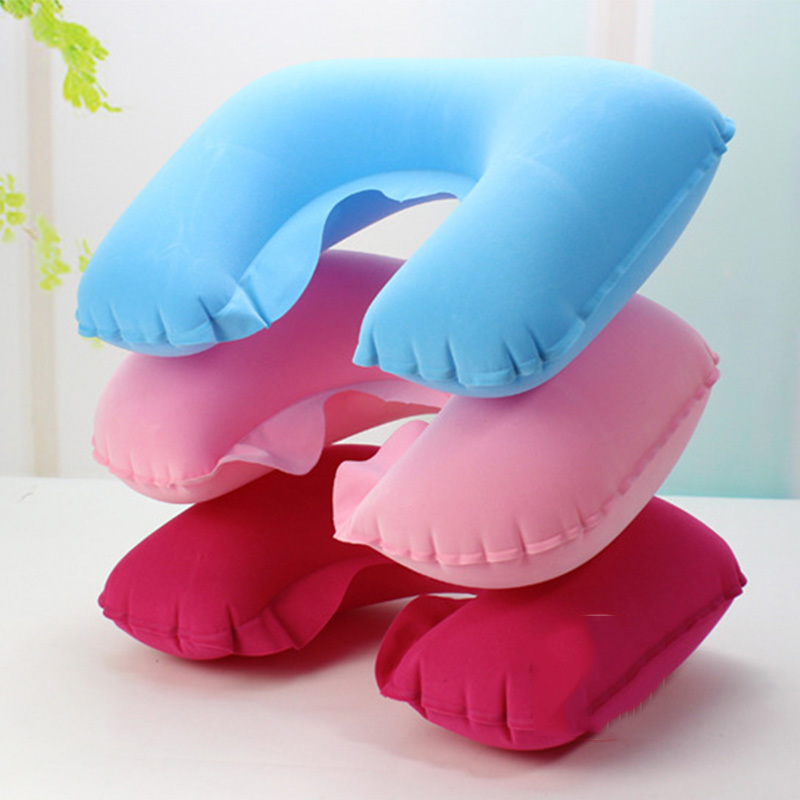 1pc New U Shape Neck Rest Air Inflatable Pillow outdoor tool Plane Camping train Convenient portable