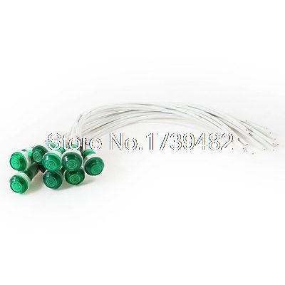 10 Pcs 10mm Hole 2 Wire Cable Green Indicator Pilot Light Lamp DC 24V