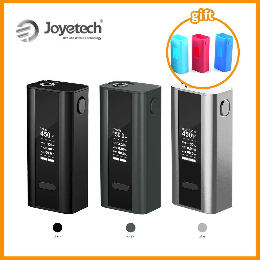Prix pour D'origine Joyetech Cuboid 150 w TC Batterie Boîte Mod Kit Cuboid silicone Cas Cadeau Temp Contrôle Goutte À Goutte Pointe 510 Connecteur vaporisateur