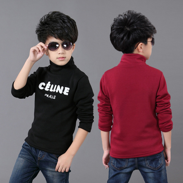 2017 Children's new Korean of winter children's t - shirt in the big children embroidered high collar shirt 3 4 5 6 7 8 9 years