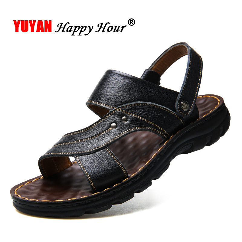 2019 Summer Shoes Men Beach Sandals Genuine Leather Thick Sole Men Sandals Non-slip Male Holiday Shoes  A1233