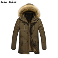 Snowshine #4503 uomo Caldo Giù In Cotone Giacca Collo di Pelliccia di Spessore Inverno Cappotto Con Cappuccio Outwear Parka spedizione gratuita