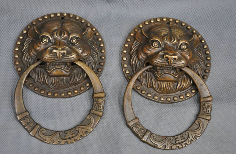 "100% Quality Scy 5"" Chinese Fengshui Bronze Foo Dog Tiger Door Holder Gate Knockers One Pair R0713"