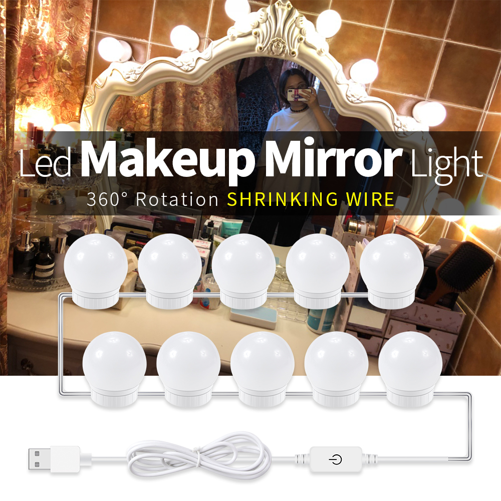 USB LED Bathroom Mirror Light 2 6 10 14Bulb kit Power Supply Adjustable Brightness Dressing Room Makeup LED Lamp Vanity Lighting