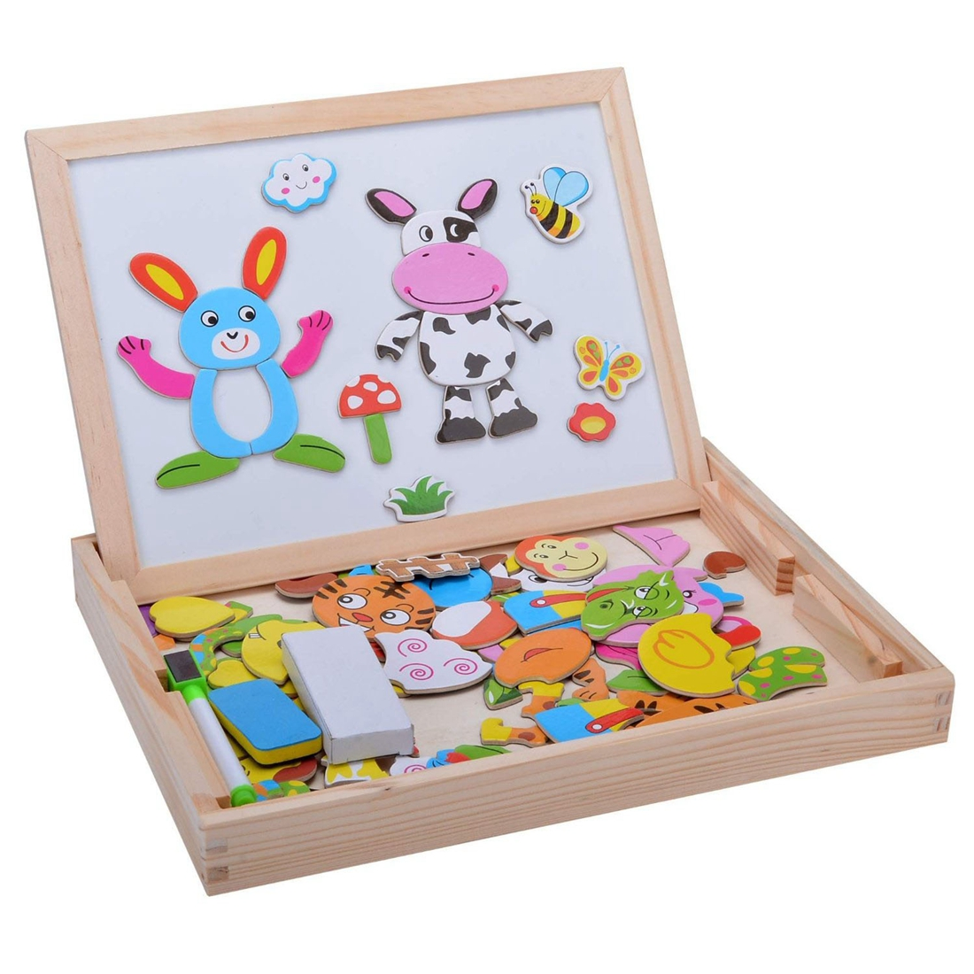 Childrens Wood Puzzle Multifunction Double Sided Magnetic Drawing Board Puzzle - Twelve Zodiac