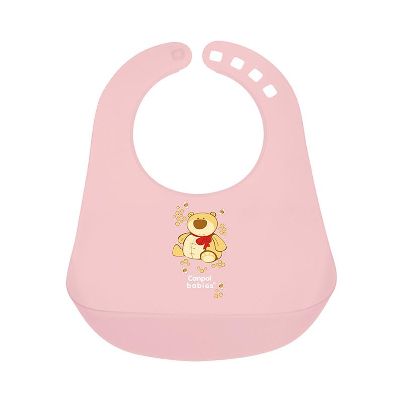 Bib Canpol Babies plastic pink