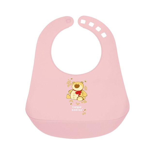 Нагрудник Canpol пластиковый, цвет: розовый