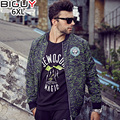 Big Guy Store XL-6XL Autumn Men Casual Jacket 2016 Green Printed Outwear Male Stand Collor Mens Coats And Jackets 1256jack