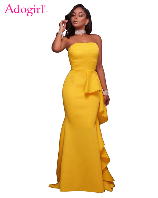 6bcd410260 Adogirl Solid Yellow Strapless Ruffle Floor Length Evening Gown Elegant  Bodycon Mermaid Maxi Party Dresses Robe Long Vestidos