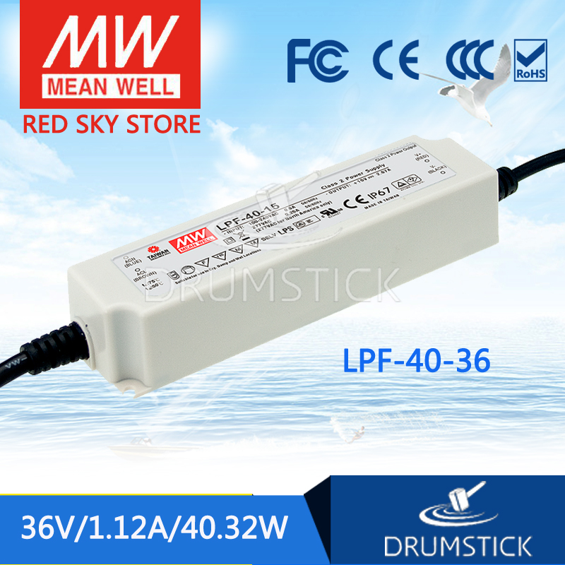 Hot sale MEAN WELL LPF-40-36 36V 1.12A meanwell LPF-40 36V 40.32W Single Output LED Switching Power Supply mean well original lpf 40 30 30v 1 34a meanwell lpf 40 30v 40 2w single output led switching power supply