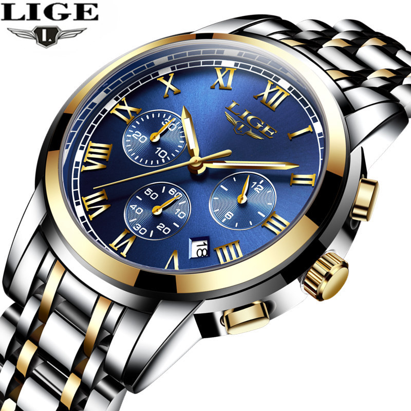 LIGE Brand Men Watch New Fashion Quartz Wrist Watches Men Waterproof Luminous Steel Band Male Clock Relogio Masculino Hodinky 46 natate men new business clock fashion men watch full gold stainless steel quartz wrist watch chenxi waterproof watch 0140