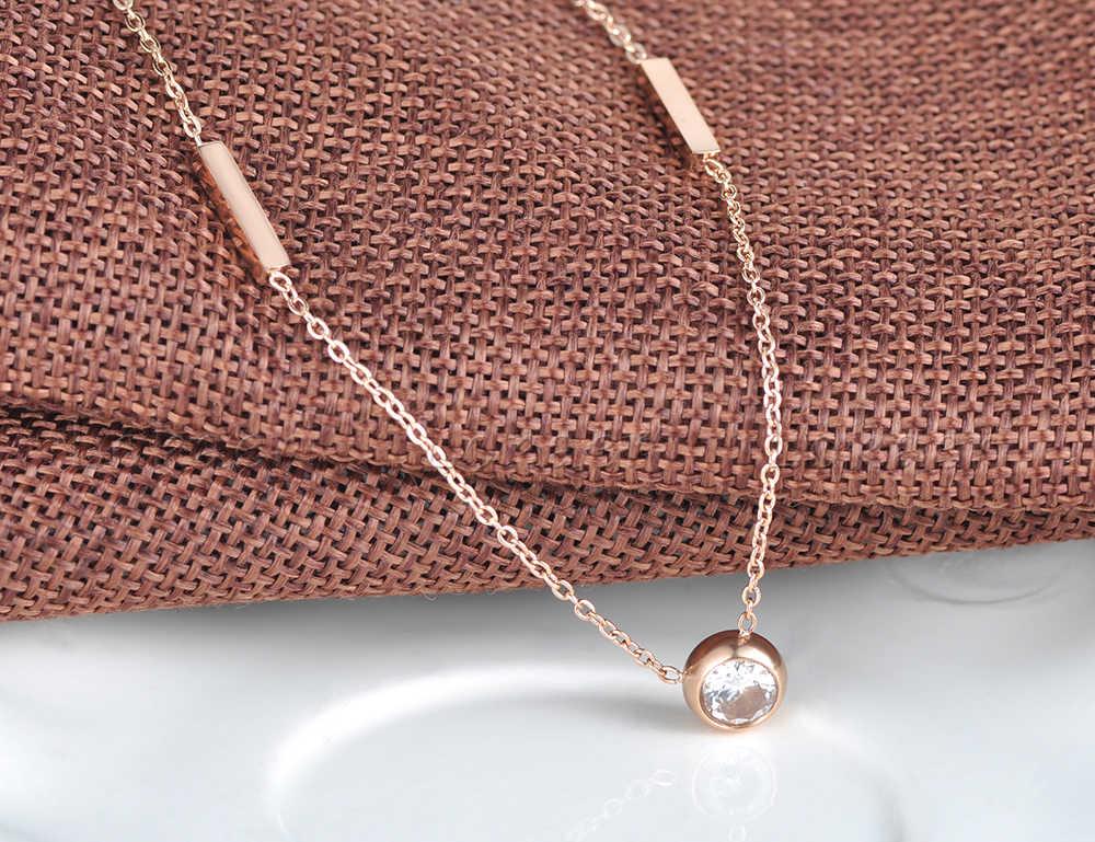 Lokaer Trendy geometryczne Cuboid Chokers naszyjnik dla kobiet różowe złoto kolor naszyjnik ze stali nierdzewnej cyrkonia ślub N18057