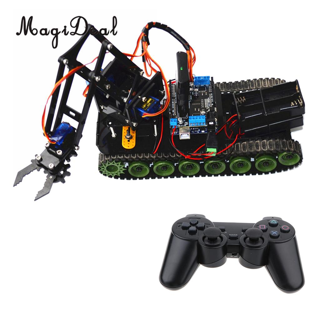 цена на DIY Remote Control Tank Chassis Robot Arm Circuit Kits for Arduino Learning Robotics Kits Science Toy