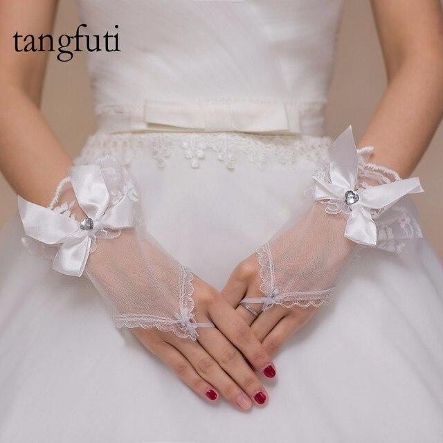 Fingerless Bridal Gloves Short Wedding Bow Accessories 2018 Luvas De Noiva