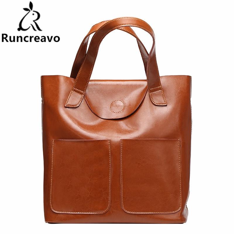 2018 Women Handbag Oil Wax Genuine Leather Top-handle Bags Large Capacity Tote Bag Female Shoulder Bags2018 Women Handbag Oil Wax Genuine Leather Top-handle Bags Large Capacity Tote Bag Female Shoulder Bags