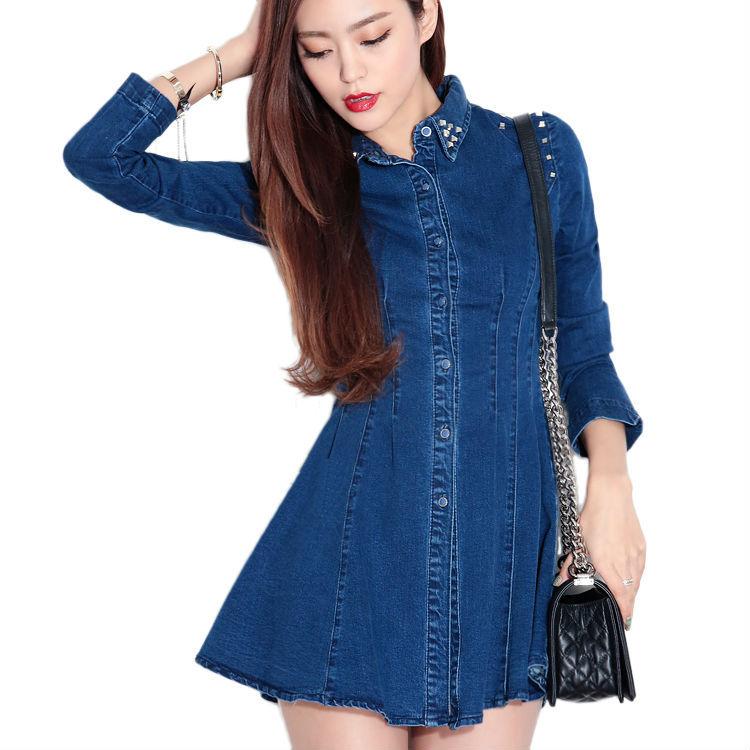 Online Shop Lady Studs Long Sleeve Slim-Cut Denim Shirt Dress Long ...