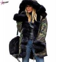 Womens Hooded Faux Fur Lined Warm Coats Parkas Anoraks Outwear Winter Long Jackets Women Parka Casual Hooded Fur Military Coat